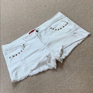 White studded forever 21 jean shorts